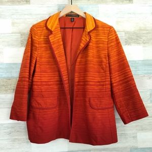 Orange Blazer Jacket Open Front Ellen Tracy